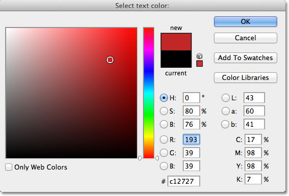 Choosing a new text color from the Color Picker in Photoshop. Image © 2011 Photoshop Essentials.com