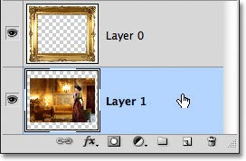 Selecting Layer 1 in the Layers panel. Image © 2011 Photoshop Essentials.com