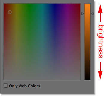 The main brightness bar in the Color Picker.