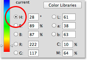 The Color Picker is set to Hue by default.