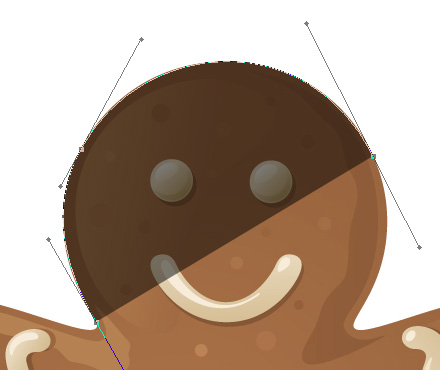 Adobe Photoshop tutorial image: The gingerbread man is now visible through the shape color.