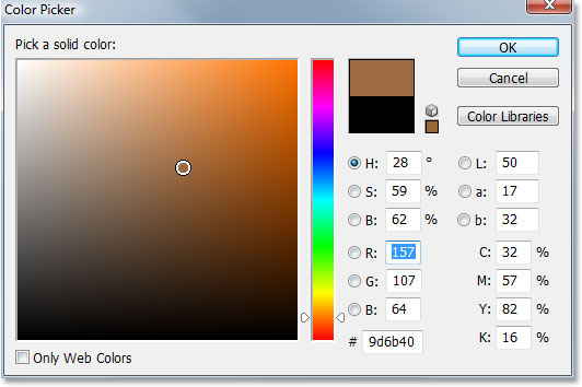 Adobe Photoshop tutorial image: Selecting a brown color from the Color Picker in Photoshop.