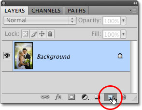 The New Layer icon in the Layers panel in Photoshop. Image © 2009 Photoshop Essentials.com