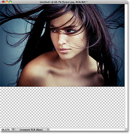 Only the selected layer is now visible in the document. Image © 2011 Photoshop Essentials.com