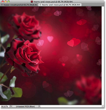 Hearts and roses. Image © 2011 Photoshop Essentials.com