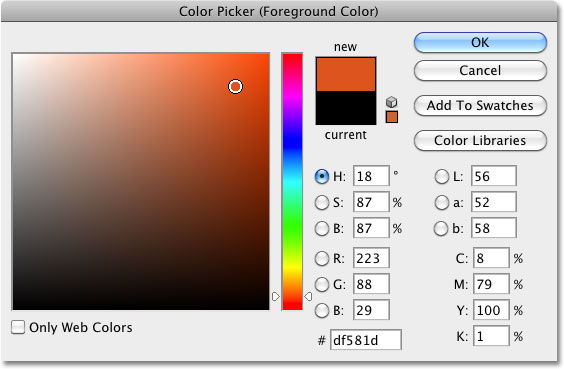 The Color Picker in Photoshop. Image © 2010 Photoshop Essentials.com