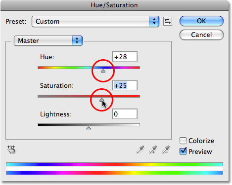 The Hue/Saturation image adjustment in Photoshop. Image © 2009 Photoshop Essentials.com