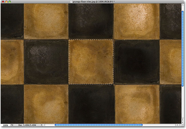 The tile is now selected. Image © 2009 Photoshop Essentials.com