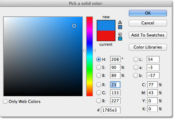 The Color Picker in Photoshop. Image © 2011 Photoshop Essentials.com