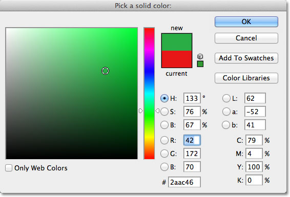 Choosing a color from the Color Picker for the Solid Color fill layer. Image © 2011 Photoshop Essentials.com