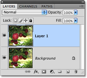 The Layers palette in Photoshop. Image © 2009 Photoshop Essentials.com