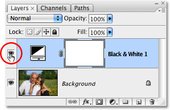 Clicking the Layer Visibility icon for the Black & White adjustment layer. Image © 2009 Photoshop Essentials.com.