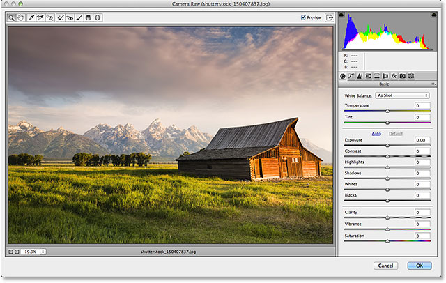 The Camera Raw filter dialog box in Photoshop CC. Image © 2014 Photoshop Essentials.com