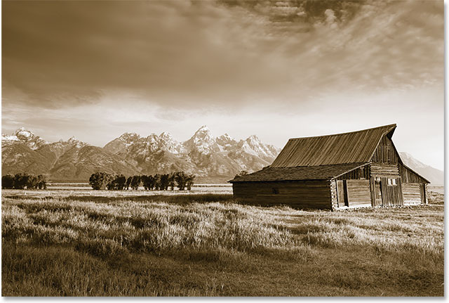 The sepia tone effect after dragging the Balance slider towards the left. Image © 2014 Photoshop Essentials.com