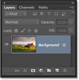 The Layers panel in Photoshop CC showing the original image on the Background layer. Image © 2014 Photoshop Essentials.com