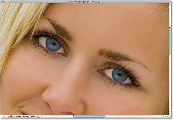 Zooming in on the eyes in Photoshop. Image © 2010 Photoshop Essentials.com