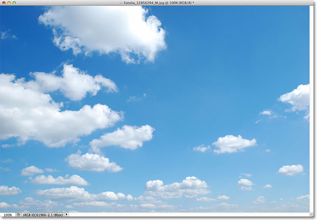 A photo of a blue sky. Image licensed from Fotolia by Photoshop Essentials.com.