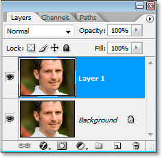 Photoshop's Layers palette now showing the copy of the Background layer as well.
