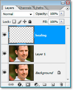 Photoshop's Layers palette showing the new healing layer