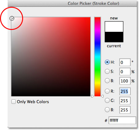 Choosing white from the Color Picker. Image © 2012 Photoshop Essentials.com.