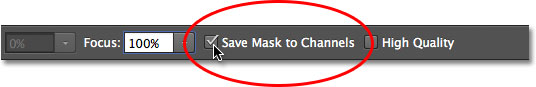 The Save Mask to Channels Option for the Iris Blur filter in the Blur Gallery. Image © 2012 Photoshop Essentials.com