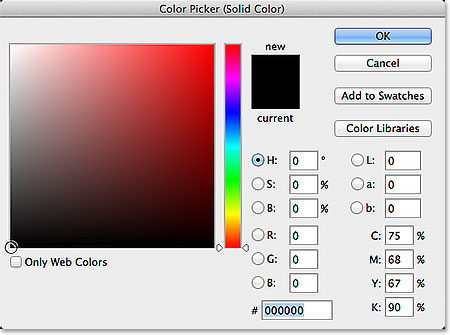 Choosing black in the Color Picker. Image © 2014 Photoshop Essentials.com.