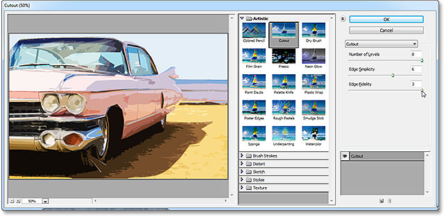 The Cutout filter options in the Filter Gallery. Image © 2013 Photoshop Essentials.com