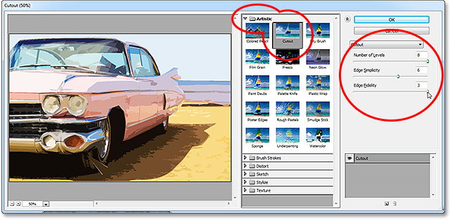 The Cutout filter options in the Filter Gallery in Photoshop CS6. Image © 2013 Photoshop Essentials.com