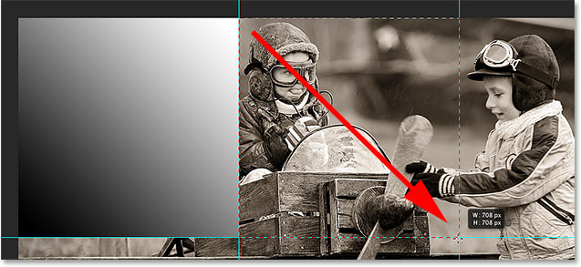 Drawing a selection outline around the top center section of the image. Image © 2014 Photoshop Essentials.com