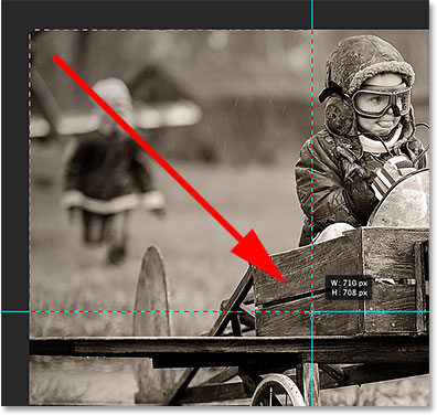 Drawing a rectangular selection around the top left section. Image © 2014 Photoshop Essentials.com
