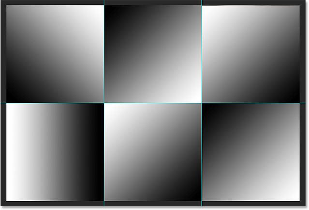 A black to white gradient appears in each section of the image. Image © 2014 Photoshop Essentials.com