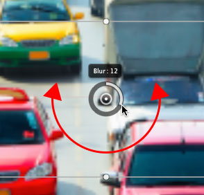 Increasing the Blur amount for the Tilt-Shift filter to 12px. Image © 2012 Photoshop Essentials.com