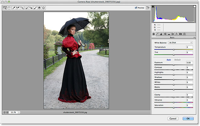 The Camera Raw Filter's dialog box in Photoshop CC. Image © 2014 Photoshop Essentials.com