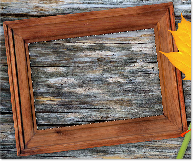 The inside of the picture frame is now selected. Image © 2014 Photoshop Essentials.com.