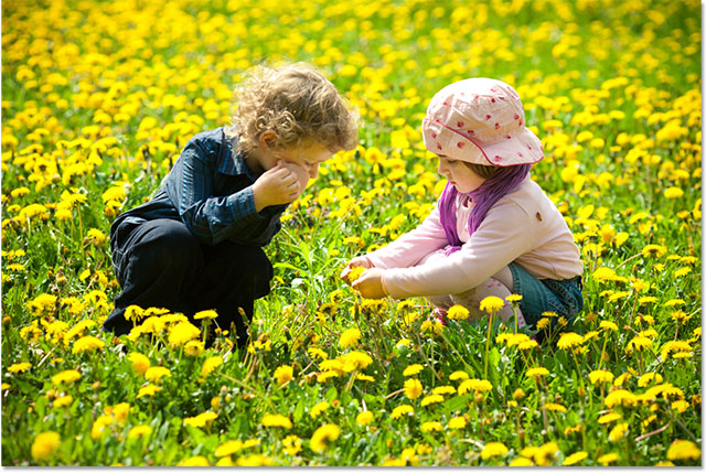 A photo of a young boy and girl in a field of flowers. Image licensed from Shutterstock by Photoshop Essentials.com