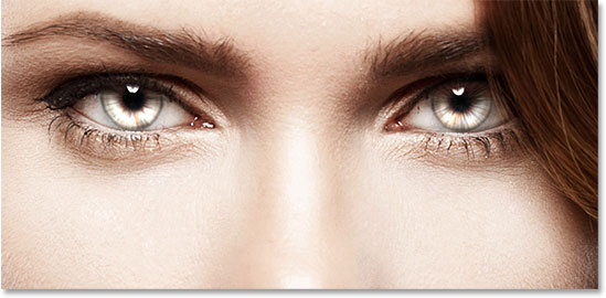 A close-up view of the radial zoom enhanced eyes effect. Image © 2011 Photoshop Essentials.com.