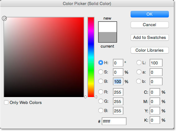 Choosing white from the Color Picker. Image © 2014 Photoshop Essentials.com.