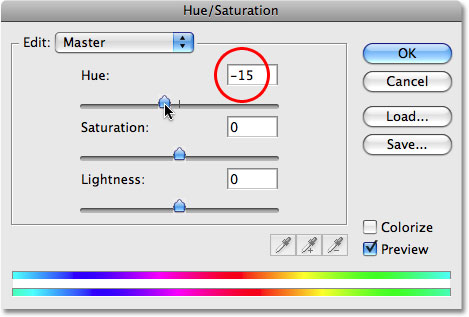 Adding a second Hue/Saturation adjustment layer in Photoshop. Image © 2009 Photoshop Essentials.com.