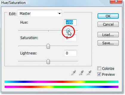 Adobe Photoshop Text Effects: Dragging the 'Hue' slider in the 'Hue/Saturation' dialog box.