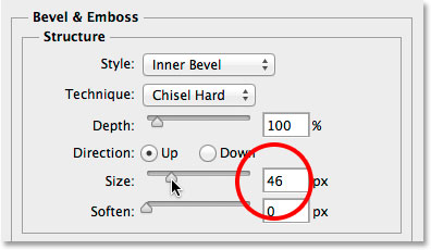 Increasing the Size value for the Bevel and Emboss layer style.