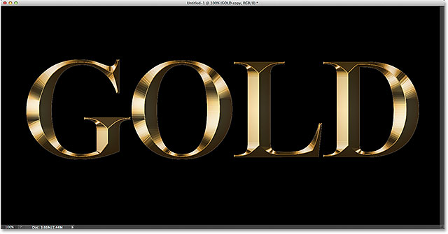 The gold letter effect after applying the Inner Glow layer style.
