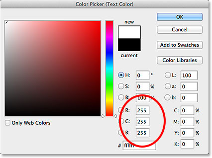 Setting the R, G and B values to white in the Color Picker.